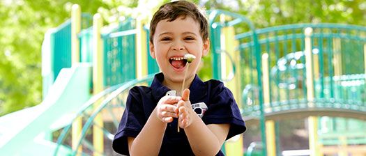 A young boy in front of a playground, smiling and holding up a flower