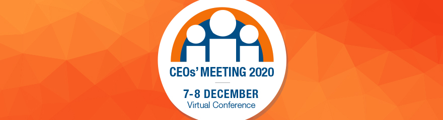 Colourful banner with figures of people in a circle and text reading 'CEOs Meeting 2020, 7 to 8 December, Melbourne Convention and Exhibition Centre'