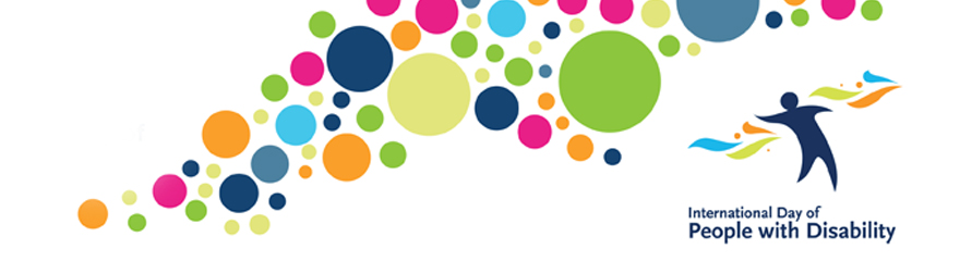 Colourful dots above with the International Day of People with Disability logo