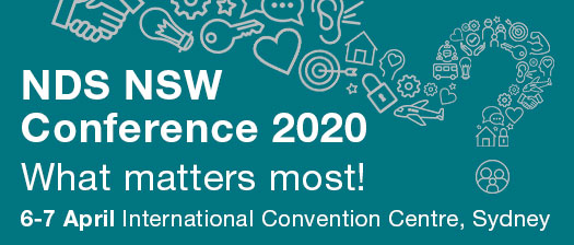 nsw conference banner with illustrations forming in a shape of a question mark. Reads, what matters most? NDS NSW conference 2020, International Convention Centre, Sydney