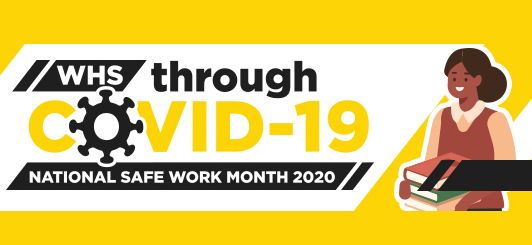 Image reads WHS through COVID-19 National Safe Work Month 2020