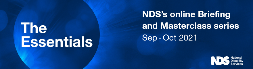 Blue banner reads: The Essentials, NDS's online briefing and masterclass series, Sep - Oct 2021