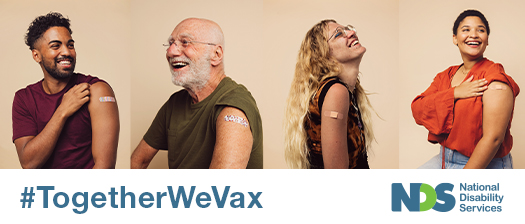 happy men and women with vaccination plasters on biceps. Hashtag reads #togetherwevax