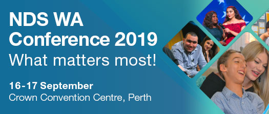 NDS WA conference 2019 event banner, with photo collage of health practitioners from service providers with clients
