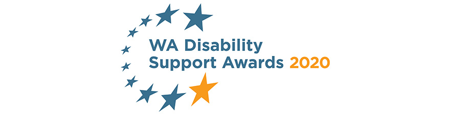 WA Disability Support Awards logo with stars around it