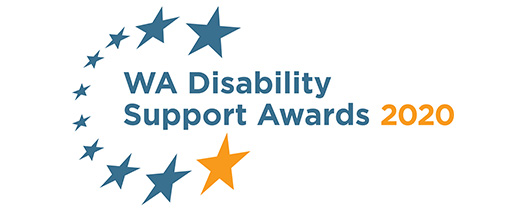 White banner with circle of blue and orange stars around the words: WA Disability Support Awards 2020