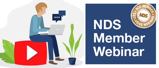 Illustration of person man using a laptop and sitting on a giant red play button with the title NDS Member Webinar