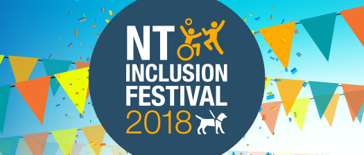 NT Festival banner with streamers and people