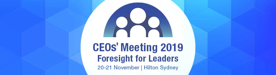 CEOs' Meeting banner in blue with people in a circle