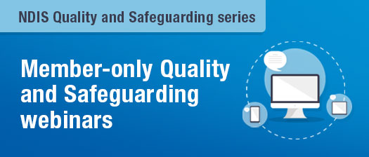 Quality and Safeguards webinar banner with laptop graphic