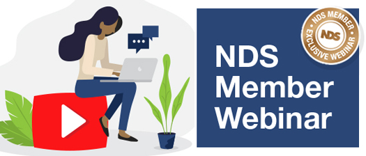 Banner with title NDS Member Webinar alongside illustration of person using laptop sitting on top of giant red play button
