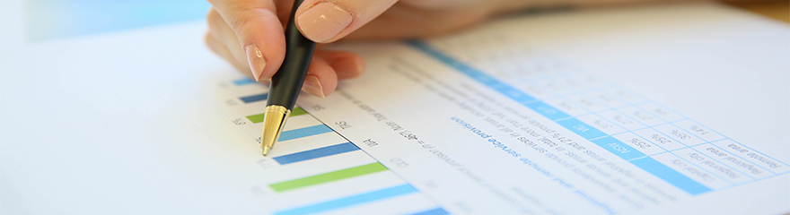 Person looking over a document with graphs