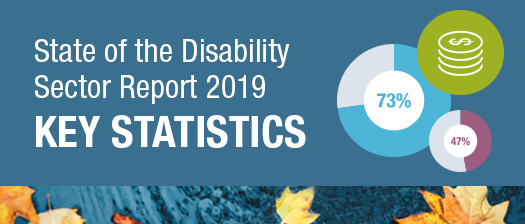 Banner with picture of leaves in a pond and text reading 'State of the Disability Report 2019 Key Statistics'