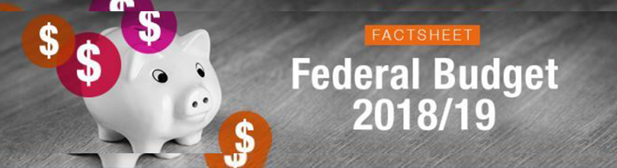 Federal Budget 2018-19 factsheet banner with piggy bank