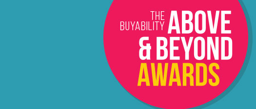 BuyAbility Above and Beyond Awards banner in bright colours