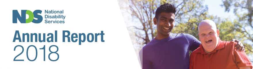 NDS Annual Report 2018 banner with support worker and client smiling outdoors