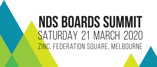 Banner with coloured triangles and text reading: 'NDS Boards Summit: Saturday 21 March 2020, Zinc'