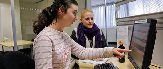 person learning new skills at a computer