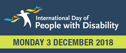 International day People with disability Monday 3 December 2018 blue banner