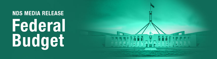 NDS Federal Budget media release banner with photo of Parliament House