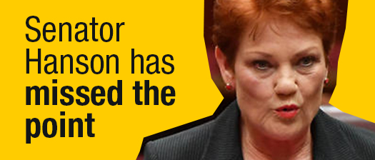 Pauline Hanson giving a speech