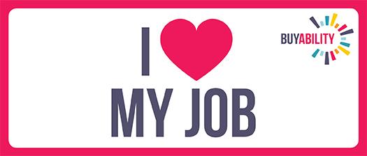 Banner reading 'I heart my job'