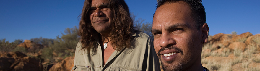 two aboriginal people outdoors