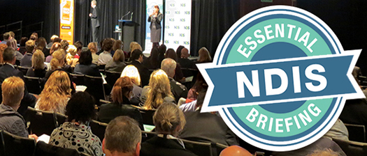 A picture of the audience with the NDIS Essential Briefing logo.