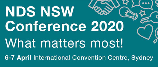 Blue banner reading: NDS NSW Conference 2020 What matters most! 6-7 April, ICC Sydney
