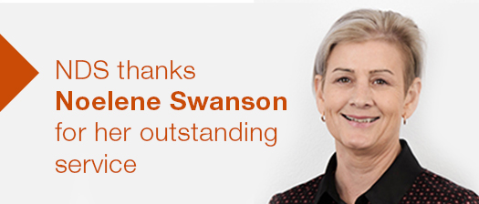 Headshot of Noelene Swanson smiling with text reading 'NDS thanks Noelene Swanson for her service'