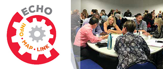 Project Echo logo next to photo of people talking at a round table