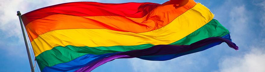 Rainbow pride flag on a mast
