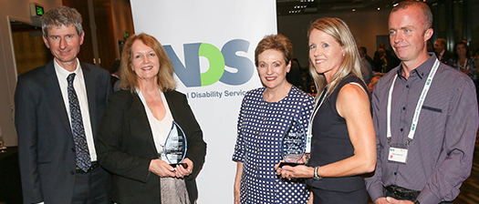 Winners of the Supported Employment Excellence Awards, the Assistant Minister and NDS CEO