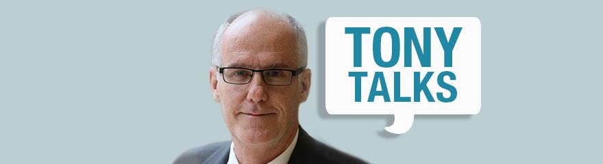 Image of Tony Pooley with a speech bubble that says 'Tony Talks'.