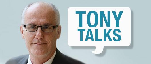 Image of Tony Pooley  with a speech bubble saying 'Tony Talks'.