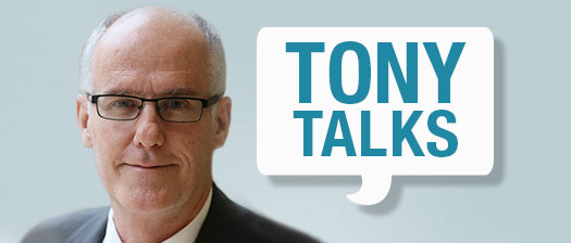 Headshot of Acting State Manager Tony Pooley with speech bubble reading 'Tony Talks'