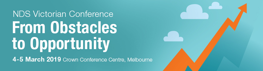NDS Victorian conference logo words from obstacles to opportunity 4-5 march 2019 pic of upward arrow