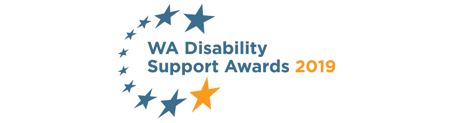 logo with stars and words disability support awards