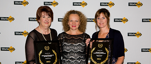 Melissa Johnson receiving her award at the Worksafe Awards.