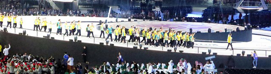 Team Australia walking into the World Games in Abu Dhabi
