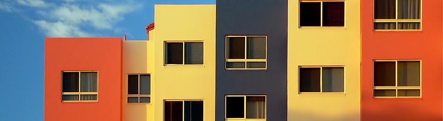 Colourful apartment blocks in a row