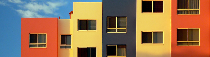 Colourful apartment buildings in a row