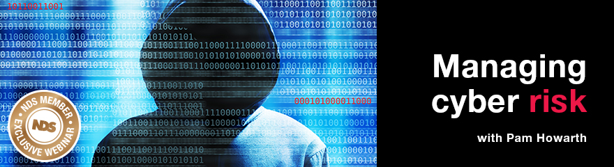 Cyber risk banner with hooded figure