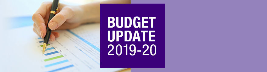 Federal Budget 2019 to 2020 banner with a graph
