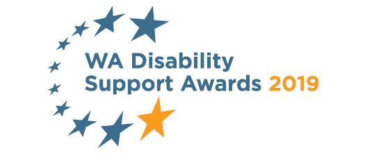 logo with stars and words wa disability support awards