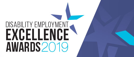 Disability Employment Excellence Awards 2019 banner with blue star