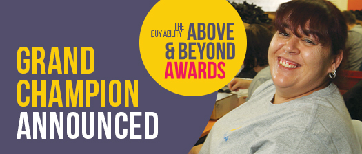 BuyAbility banner with text reading 'Grand Champion announced' and photo of Bianca Nowicki-Mancer