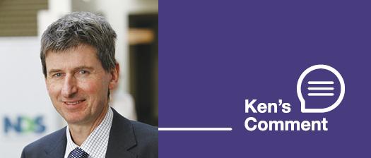 Portrait shot of Ken Baker along with a logo for 'Ken's comment'