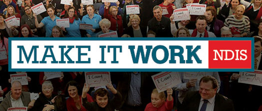 NDIS Make It Work event banner with a crowd of people