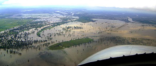 Aerial picture of Rockhampton flood